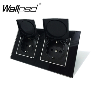 Image 1 - Wallpad siyah kristal cam Panel 110V 250V çift toz kapağı ab avrupa Schuko duvar soketi pençeleri ile klipler soket kapaklı
