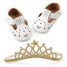 Naujagimio kūdikių berniukų mergaičių batai tuščiaviduriai išmintingų PU princesės batų kvėpuojantys Sapato darželiai pirmuosius vaikštynus + karūną galvos juosta