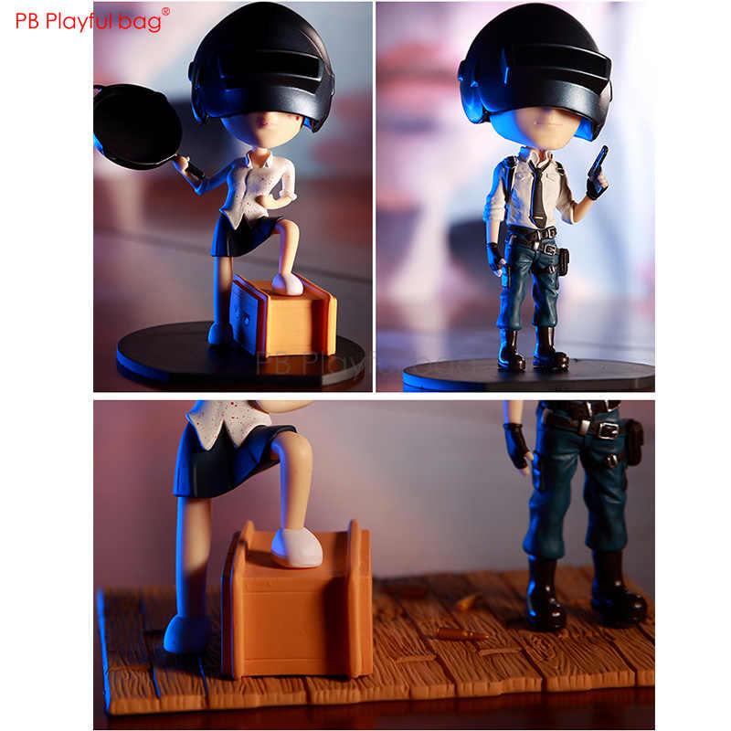 Moda Oyun P U B G 12 cm Aksiyon Figürü Büyük Kafa ile Erkek ve Kız titrek kafa Oynak çanta PVC Ürün HA40