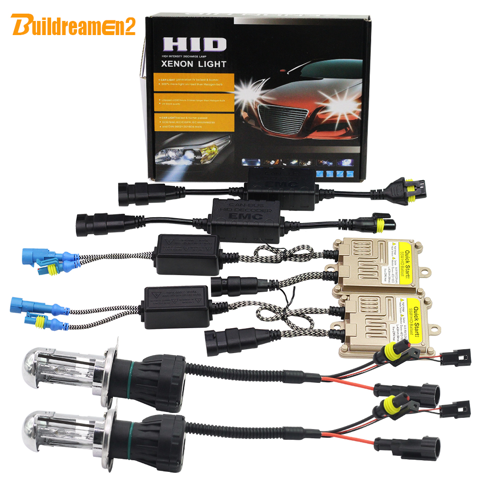 Buildreamen2 H4 Hi/Lo 55W Canbus HID Bi Xenon Kit Decoder AC Lamp Ballast Anti Error Flicker 3000K-8000K 12V Car Light Headlight