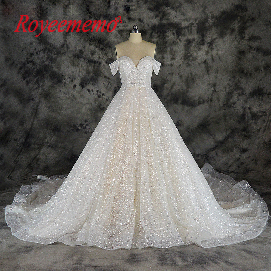new special spark luxury wedding dress glitter Champagne and Ivory wedding gown custom made factory shinning