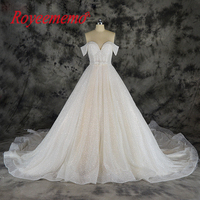 new special spark luxury wedding dress glitter Champagne and Ivory wedding gown custom made factory shinning bridal dress