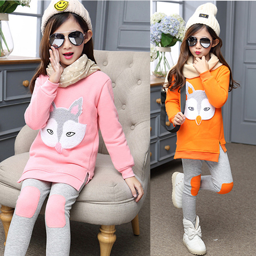 LavnLavn fashion girls clothes set girl clothing sets cartoon fox fleece inside warm sweatshirt + pants autumn and winter