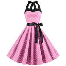 Baru 2019 Pink Midi Gaun Polka Dot Retro Hepburn Vintage 50 S 60 S Halter Gaun Pesta Pin Up Rockabilly gaun Gamis Plus Ukuran(China)