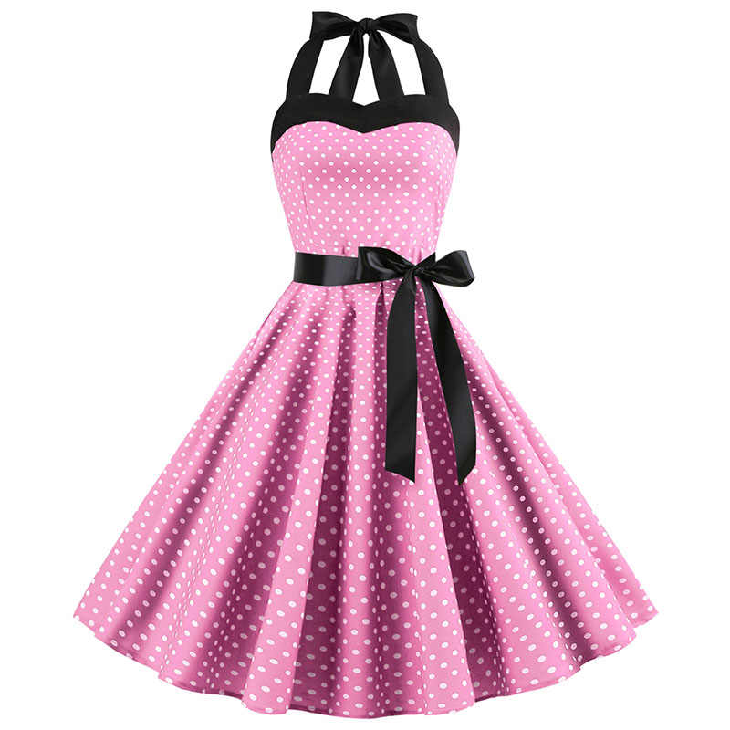 Novo 2019 rosa midi vestido retro polka dot hepburn vintage 50s 60s halter vestido de festa pino acima rockabilly vestidos robe plus size