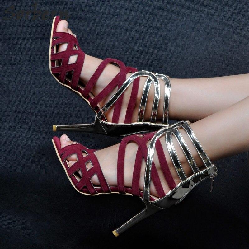 Modeste Dames Hauts Luxe Côté Sandales De Designers Cher Plus Taille Femmes La 2018 Talons Sorbern Gold Creux Chaussures Partie Pas EDYW92HI