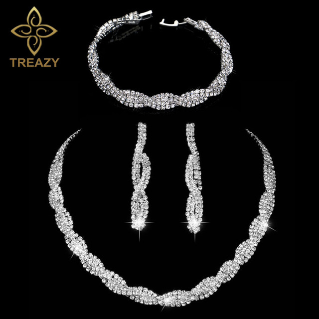 Sparkling Silver Color Rhinestone Crystal Wedding Jewelry Set Twisty Choker Necklace Earrings Bracelet Bridal