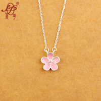925 Sterling Silver Sakura Flower Necklaces Pendants Cherry Blossoms With Chain Choker Necklace Jewelry Freeshipping