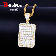 Bling Military Card Pendant Necklace Chain With Tennis Chain Gold Color Bling Cubic Zircon Mens Hip hop Rock Jewelry
