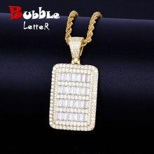 Collier avec pendentif de carte militaire Bling, chaîne de Tennis, couleur or, Zircon cubique, bijoux Hip hop Rock pour hommes