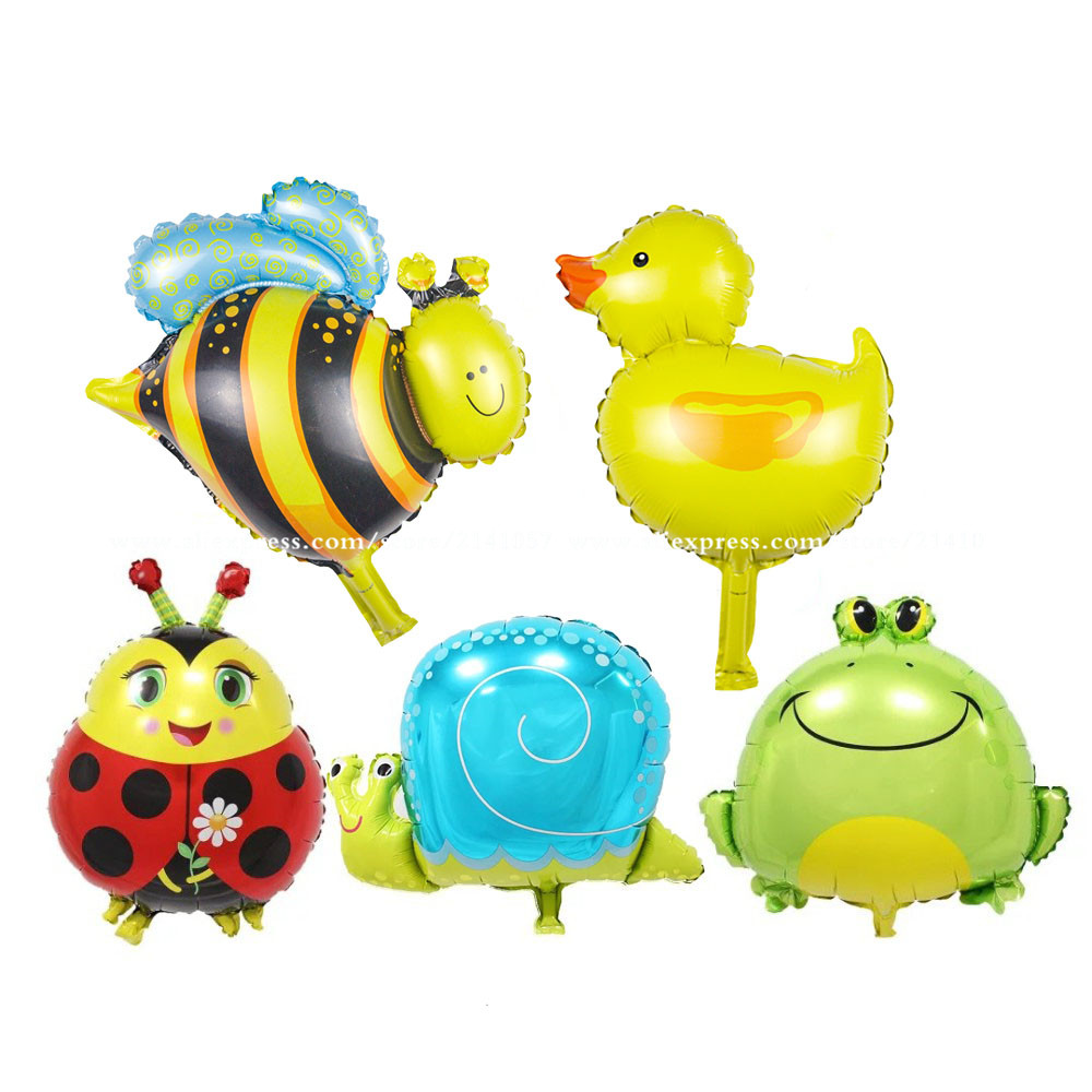 5pcs/lot Mini Bee & duck & Frog & Snails & Ladybug Helium Foil Balloons Animal theme party suppies baby toys gifts animals head