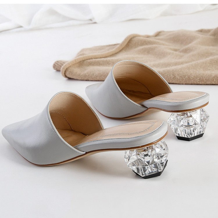 MLJUESE 2019 women slippers Cow leather summer black color pointed toe crystal heel slip on high