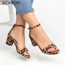 2019 Ankle Strap Heels Leopard Print Women Sandals Summer Shoes Women Open Toe Chunky High Heels Party Dress Sandals Women Pumps цена и фото