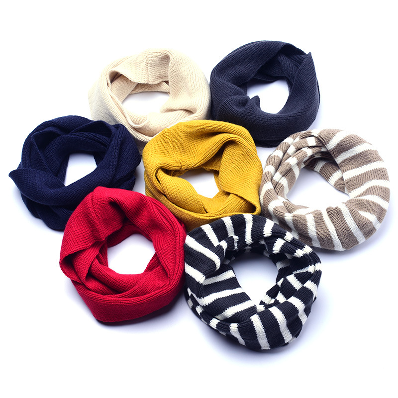 Autumn Winter Baby Knitted Scarf New Fashion Children's Solid Color Warm O-Ring Boys Girls Baby Hedging Neck Collar 2018