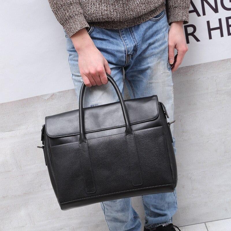 2018 spring mens handbag, cow leather, business briefcase, leather shoulder bag, male big capacity black shoulder bag brand