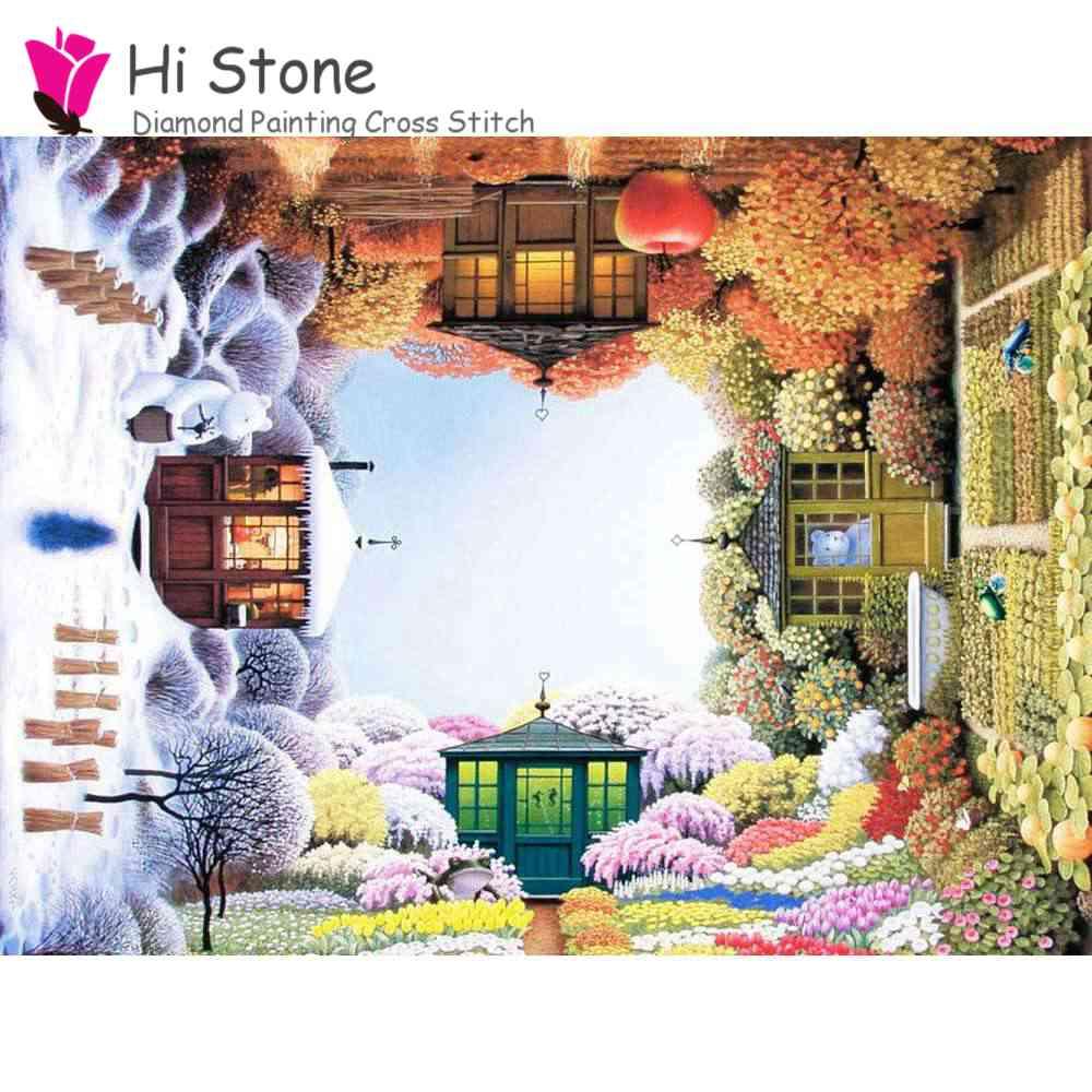 5D DIY алмаз живопись Four Seasons сад полный квадрат горный хрусталь вышивка крестиком Алмазная вышивка мозаичные украшения подарок