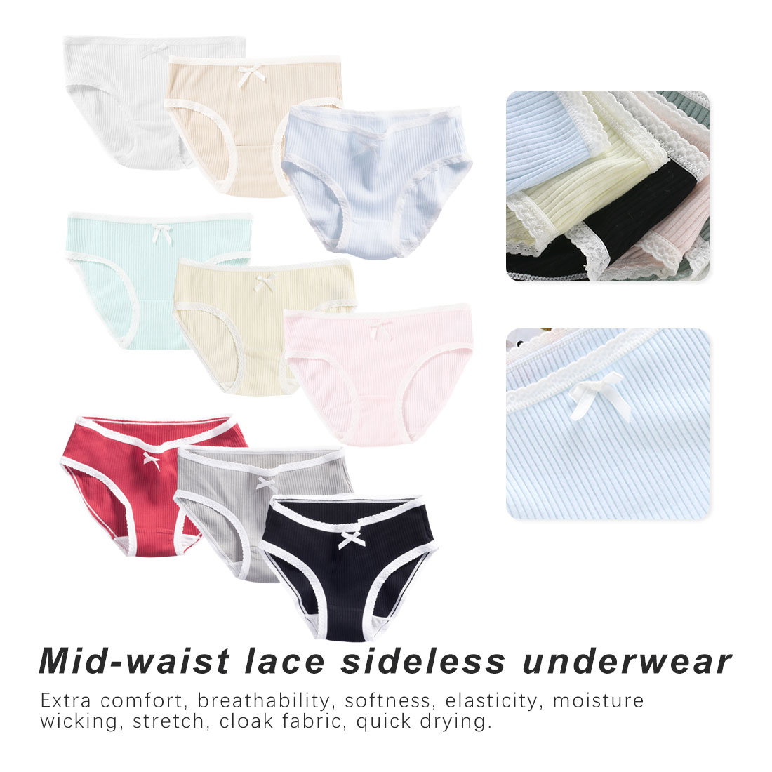 Women's Panties Cotton Briefs Ribbed Girls Underwear Ladies Comfortable Panty Female Daily Lingerie Underpants Lace Waistband