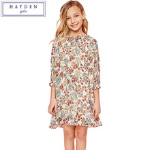 c876e409d095 HAYDEN Girls Floral Print Chiffon Dress Summer 2018 Teenage Dresses for  Girls Size 14 Loose Big