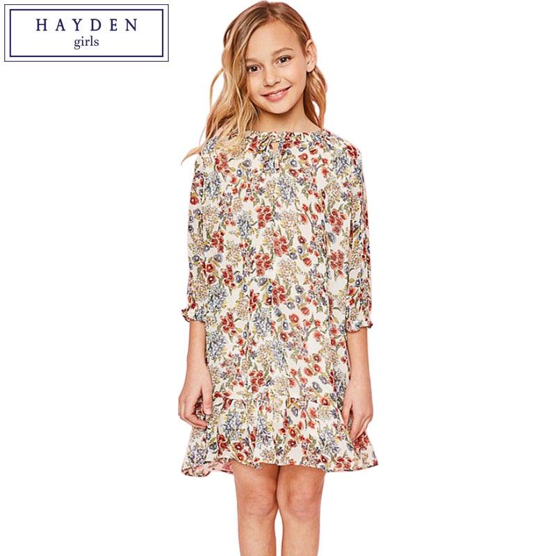 09e8f6f58 Detalle Comentarios Preguntas sobre Vestido de chifón estampado Floral de  las muchachas de HAYDEN verano 2018 vestidos adolescentes para niñas talla  14 ropa ...