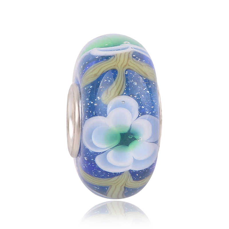 Couqcy さまざまな色 Chamilia ビーズカット表面ガラスフィットオリジナルパンドラのブレスレットチャーム Diy のジュエリー