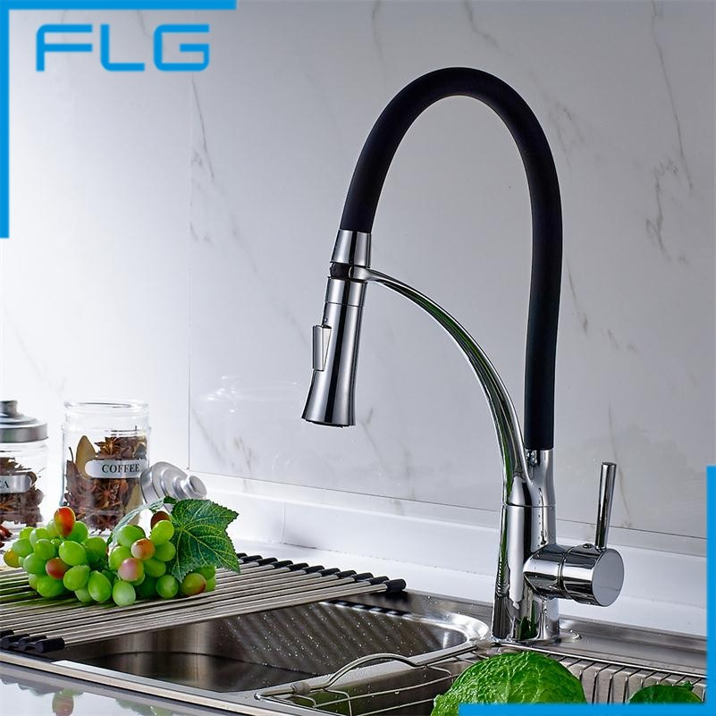 Newly Design 360 Swivel 100% Solid Brass Single Handle Mixer Sink Tap Pull Out Down Kitchen Faucet In Chrome Finish kitchen chrome plated brass faucet single handle pull out pull down sink mixer hot and cold tap modern design
