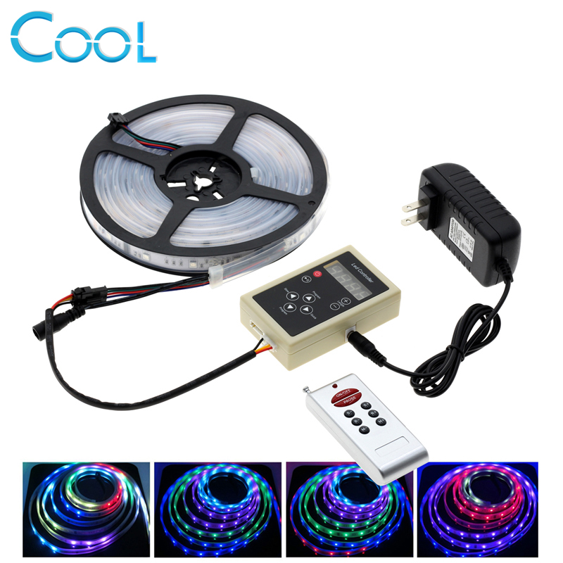 6803 IC Dream Color RGB LED Strip 5050 SMD 30LED/m IP67 Waterproof Chasing Magic Color Tape + RF Magic Controller + Power Adapte