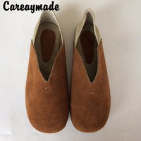 2016 New Hot Sale Art Retro Pure Handmade Genuine Leather Loafers 2 Wear New Single Shoes