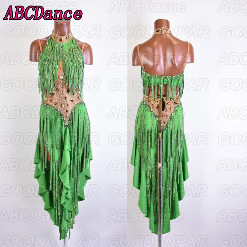 Latin Dance Dress Women Green Backless Dance Latin Dress Ballroom Latin Swing Rumba Samba Chacha Dance Dress