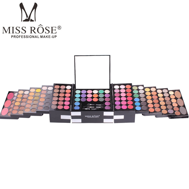 Miss Rose 144 Color Makeup Eyeshadow Palette Women Cosmetic Beauty Matte Eye Shadow Blusher Make Up Brush Set Kit with Mirror