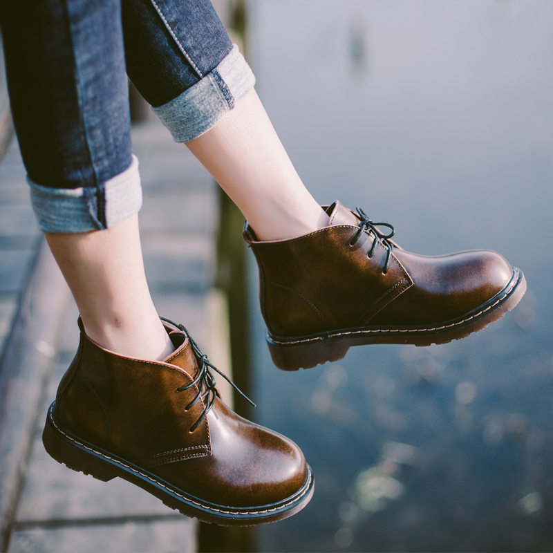HZXINLIVE 2018 New Autumn Women Boots Genuine Leather Ankle Boots for Women Vintage Lace up Low