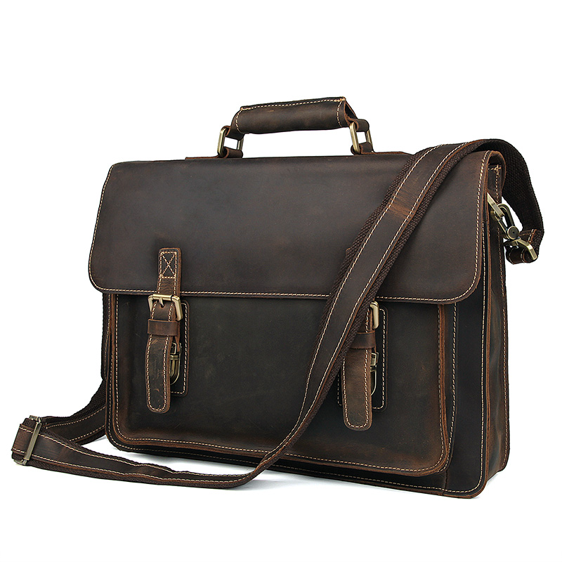 Men's Genuine Leather Briefcases Bag Thick Crazy Horse Leather Business Handbag Laptop Bag Leisure Brown