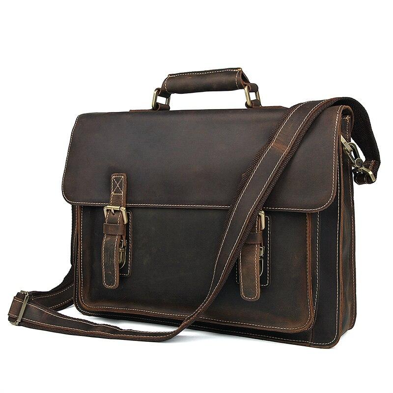 Mens Genuine Leather Briefcases Bag Thick Crazy Horse Business Handbag Laptop Leisure Brown