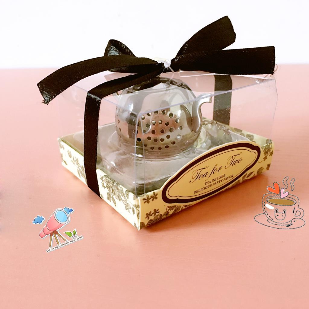 50pcs New Wedding Favor Small Stainless Steel Teapot Tea Strainer