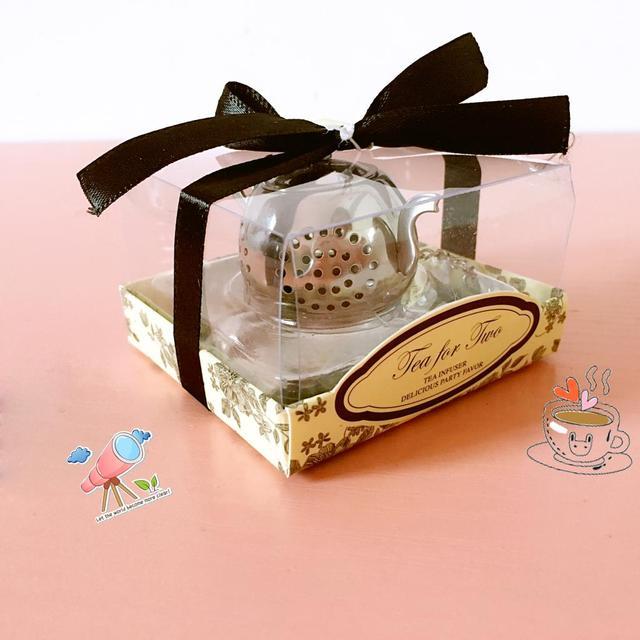 50pcs New Wedding Favor Small Stainless Steel Teapot Tea Strainer Spoon Gift Ideas