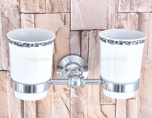 Polished Chrome Wall Mounted Double Toothbrush Holders With 2 Creamic Cups Tooth Cup Holders For Bathroom Accessories zba796 antique brass bathroom accessories double toothbrush cup holders