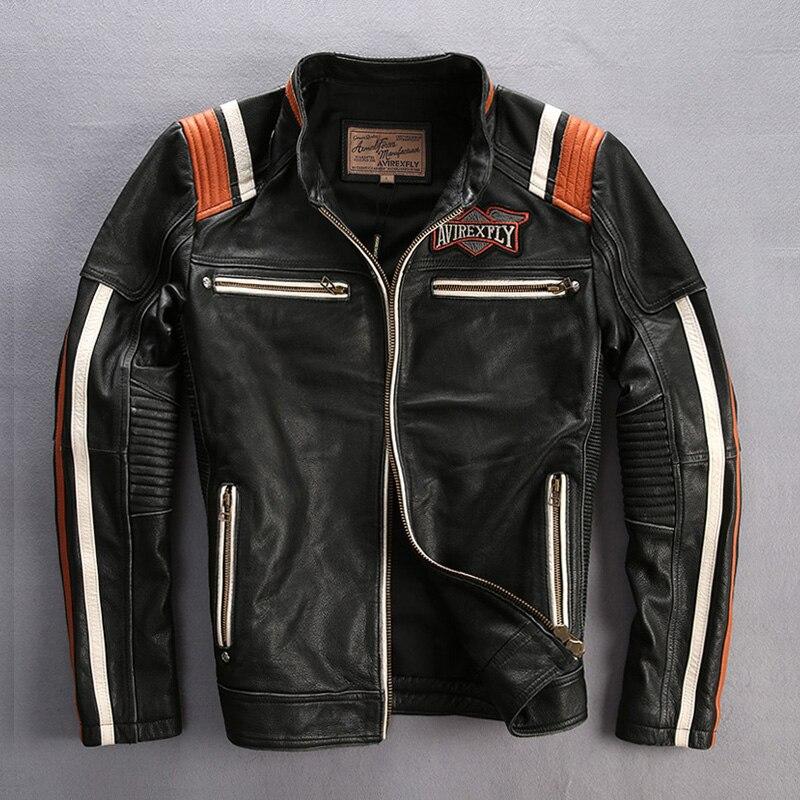 Maschio genuino della mucca di cuoio del motociclo giacca pilota dell'annata del collare del basamento del ricamo in pelle motociclista giacca di pelle di vacchetta