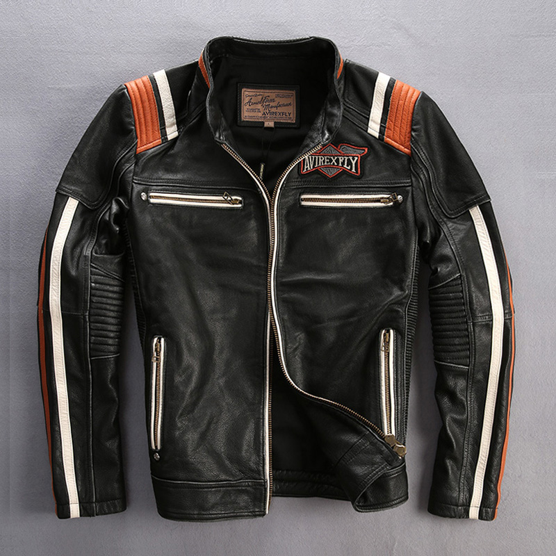 male genuine cow leather motorcycle rider font b jacket b font vintage stand collar embroidery leather