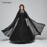 Punk Rave Gothic Chiffon Transparent Witch Hooded Long Cape Cloak Coat Cosplay Performance Clothing WY959