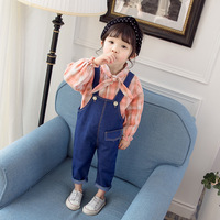 Brand Baby Girl Clothes Casual Shirt+Denim Overalls 2pcs Baby Suit 0 3T Age Children Newborn Set Kids Tracksuit Infant Clothing