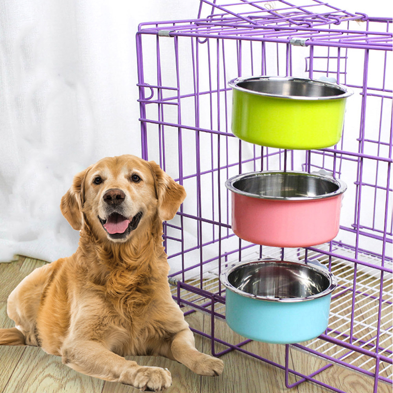 Pet Bowl Stainless Steel Water Food Feeder Feeding Dog Puppy Cat Hanging Cage Square Bowls Pets Supplies Dogs Cats Crate Cage