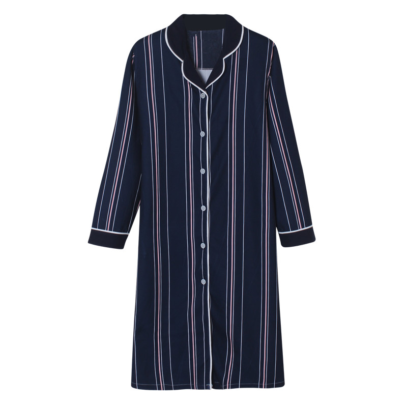 Quality 100% Cotton   Nightgown   Women Nightdress Sleepwear Loose Big   Nightgowns   Striped   Sleepshirts   Dress Lounge Fashion Clothing