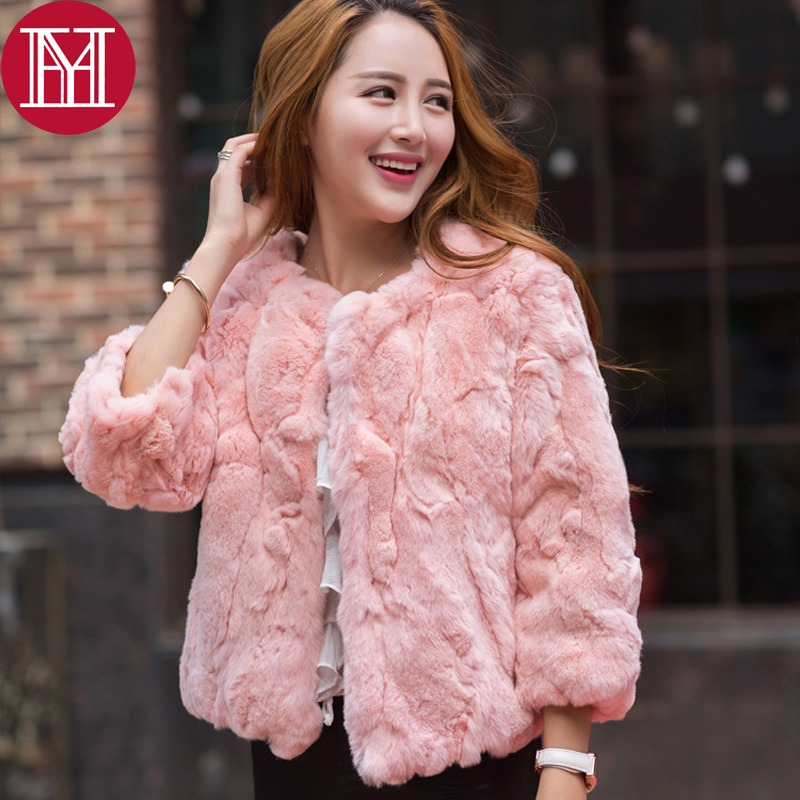 Real Natural Rex Rabbit Fur Coat 2017 New Women Fashion Fur Jacket Free Shipping Low Sale