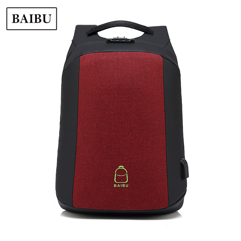 USB Backpack Men Anti-theft 15.6'' Laptop Travel Bag Pack Waterproof Oxford Large Capacity Business Bagpack Unisex Red Schoolbag 2017 xqxa brand 15 6 inch laptop bag backpack men large capacity oxford compact men s 17inch backpacks unisex women bagpack