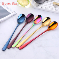 8pcs Stainless Steel High Grade Lovely Colourful Spoons Coffee Spoon Long Handle Gold Spoon Set for Ice Cream gold tableware