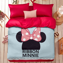 100% cotton Mickey Mouse 4pcs Bedding Sets Queen bed Sheet set Bed linen Bedclothes Duvet Cover minnie mouse bedding sets