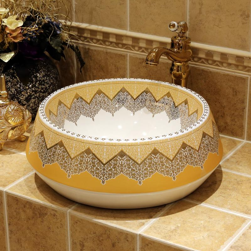 Lovely Europe Style Wash Basin Sink Ceramic Basin Sink Jingdezhen Washing Basin  Counter Top Bathroom Ceramic Sinks Kohler Wash Basin