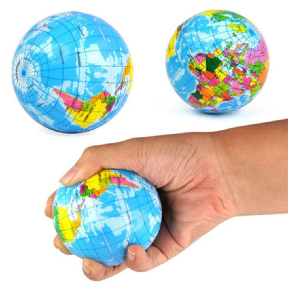 1Pc Fashion Funny Soft Earth World Map Globe Foam Stress Relief Bouncy Ball Geography Map Teaching Hand Squeeze Ball