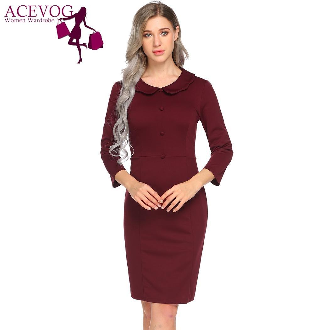 1e77b127cde ... Party Pencil Dresses Vestidos. ACEVOG Women Basic Vintage Dress Spring  Autumn Peter Pan Collar 3 4 Sleeve Casual Office