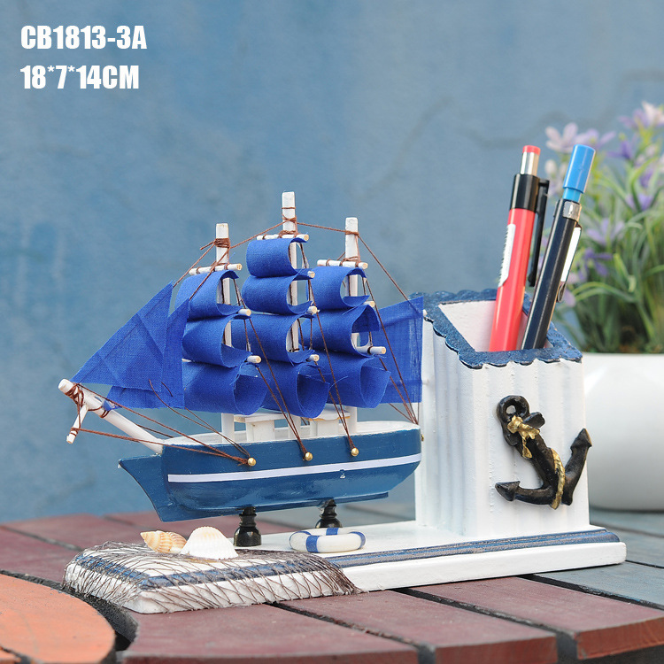 Sailing Mediterranean Style Creative <font><b>Home</b></font> Furnishings Birthday Gift Pen Wooden <font><b>Decorations</b></font>