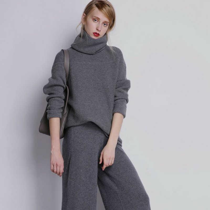 Sweater Wanita 100% Kasmir Rajutan Pullover Wanita Jumper Musim Dingin Baru Fashion Besar Turlteneck Tebal Hangat Pakaian Rajut Gadis Pakaian